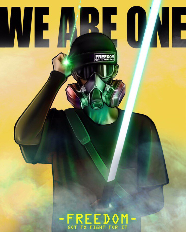 Illustration of a frontliner in a black helmet, ballistic goggles, and a half-face respirator, holding a green laser pointer shining at the viewer and a green lightsaber. Text on top reads WE ARE ONE. Text on bottom reads FREEDOM/Got to fight for it.