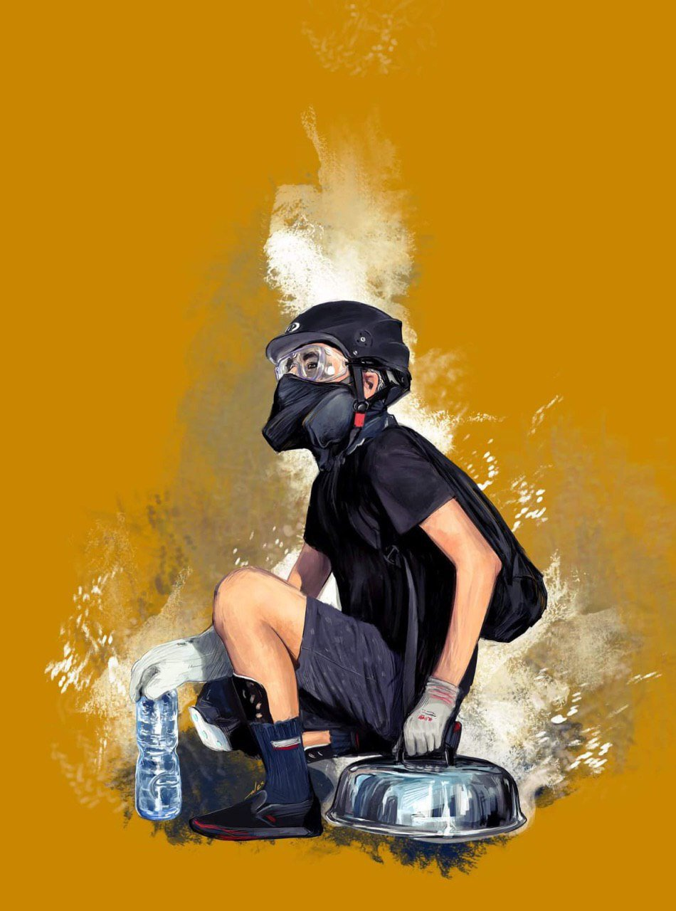A digital painting of a teenaged yungmo frontliner, in a black bike helmet, shatterproof goggles, and half-face respirator with thin black fabric over the respirator. He has work gloves on and is smothering a burning tear-gas canister with a metal wok lid.