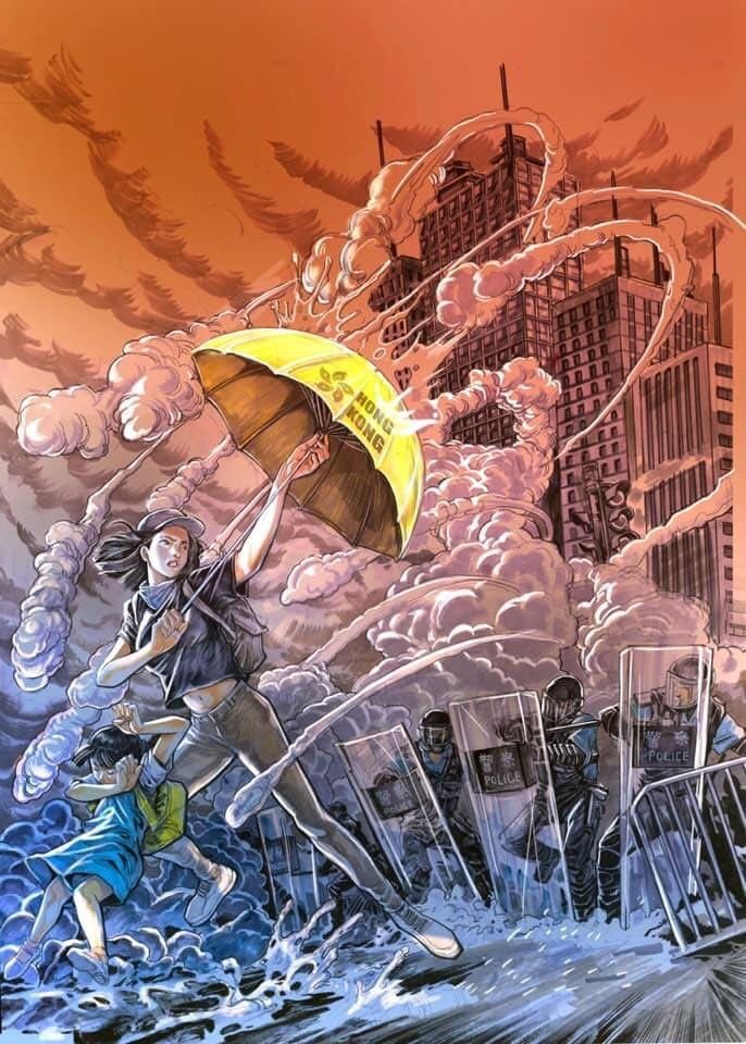 "A stylized illustration of a woman, face uncovered in a plain baseball hat, shielding a young girl from tear gas canisters fired by a line of riot police. She is shielding herself and the girl with a yellow umbrella labelled ""Hong Kong"" with the bauhinia symbol on it. All around them is a dense cloud of tear gas. In the background are skyscrapers."
