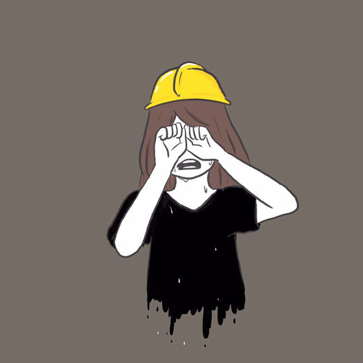 A simple illustration of a female protestor wearing a black shirt and hard hat, crying and trying to wipe away her tears with balled-up hands.