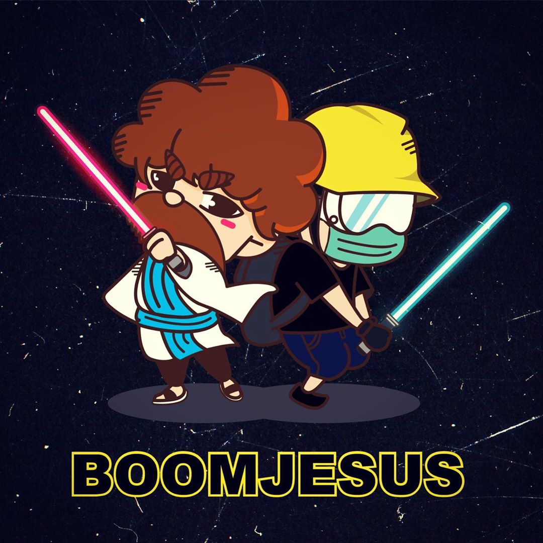 "A cartoonish chibi-style illustration of a Jedi - caucasian man in a robe holding a red lightsaber with a bushy beard - standing back to back with a Hong Kong protestor wielding a green lightsaber, all on a dark blue background. There is a caption in English reading ""BOOMJESUS""."